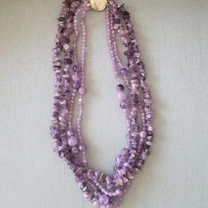 Natural Amethyst Stone Layered Necklace